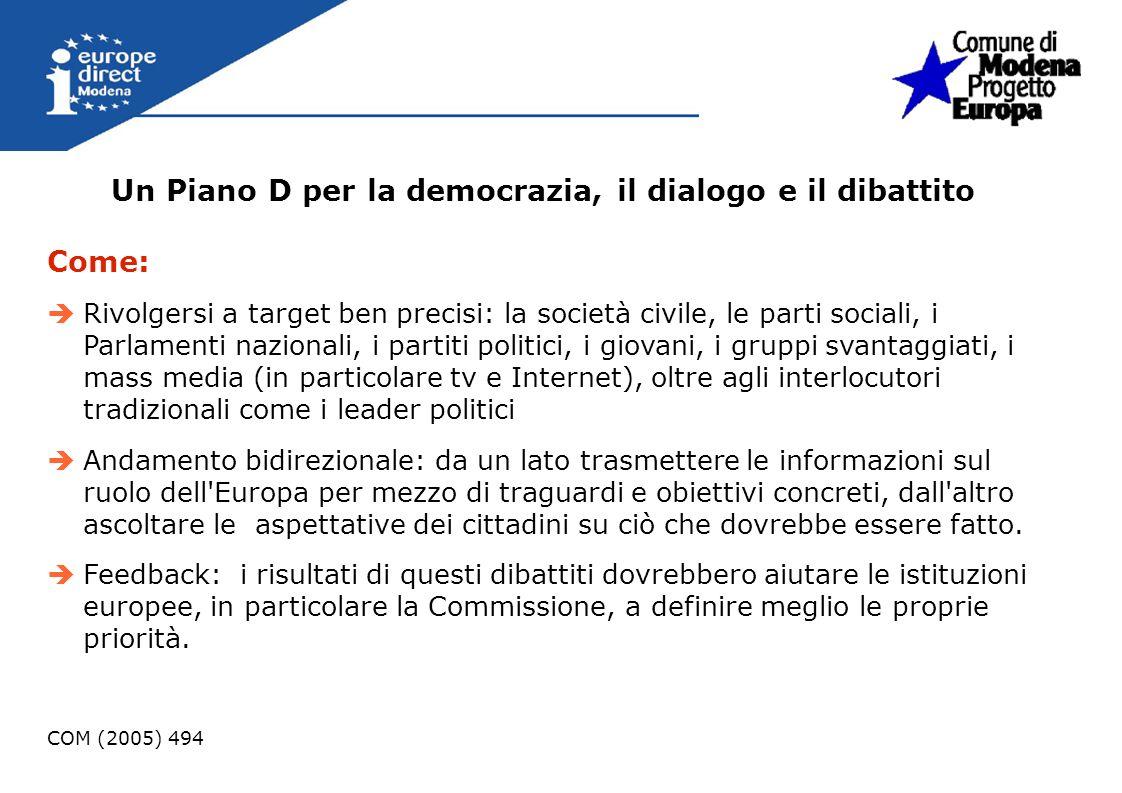 Un Piano D per la democrazia, il dialogo e il dibattito