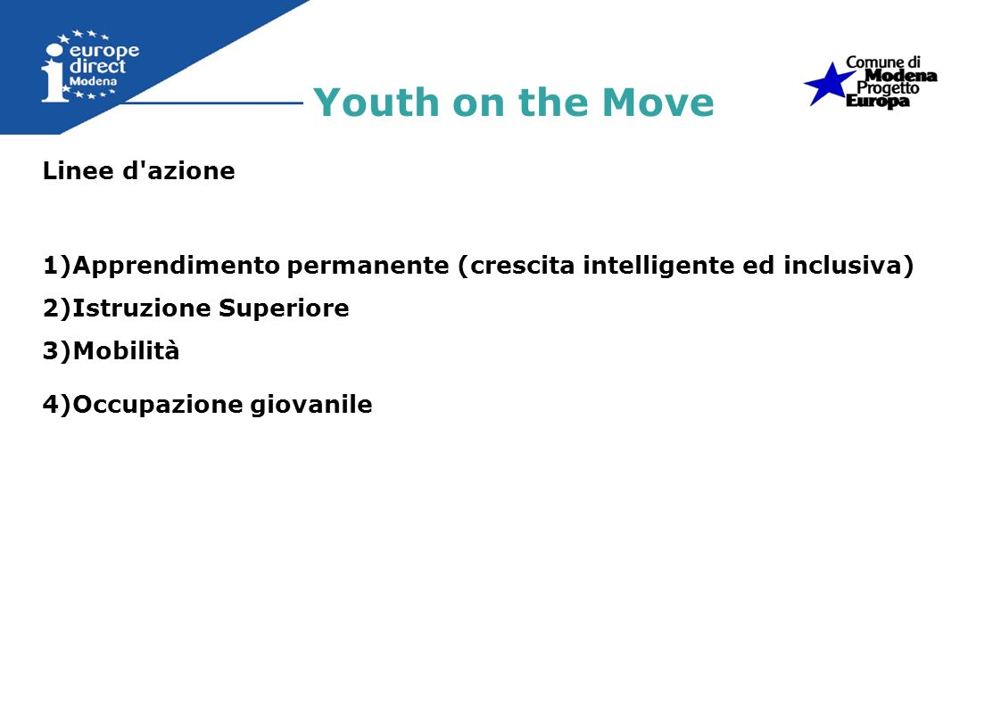 Youth on the Move Linee d azione