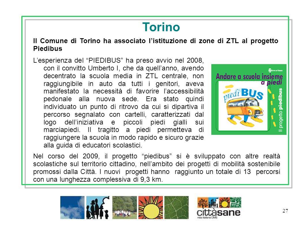 TorinoIl Comune di Torino ha associato l'istituzione di zone di ZTL al progetto Piedibus.