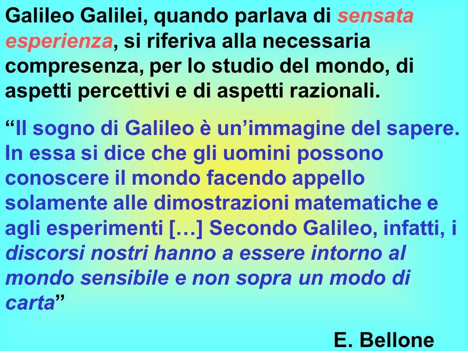 Galileo Galilei, quando parlava di sensata esperienza, si riferiva alla necessaria compresenza, per lo studio del mondo, di aspetti percettivi e di aspetti razionali.