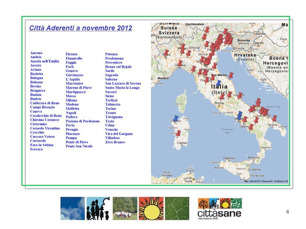 Città Aderenti a novembre 2012