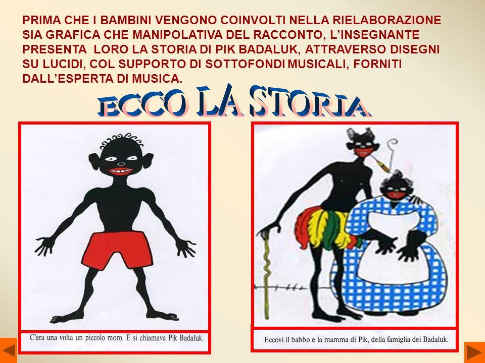 PRIMA CHE I BAMBINI VENGONO COINVOLTI NELLA RIELABORAZIONE SIA GRAFICA CHE MANIPOLATIVA DEL RACCONTO, L'INSEGNANTE PRESENTA LORO LA STORIA DI PIK BADALUK, ATTRAVERSO DISEGNI SU LUCIDI, COL SUPPORTO DI SOTTOFONDI MUSICALI, FORNITI DALL'ESPERTA DI MUSICA.
