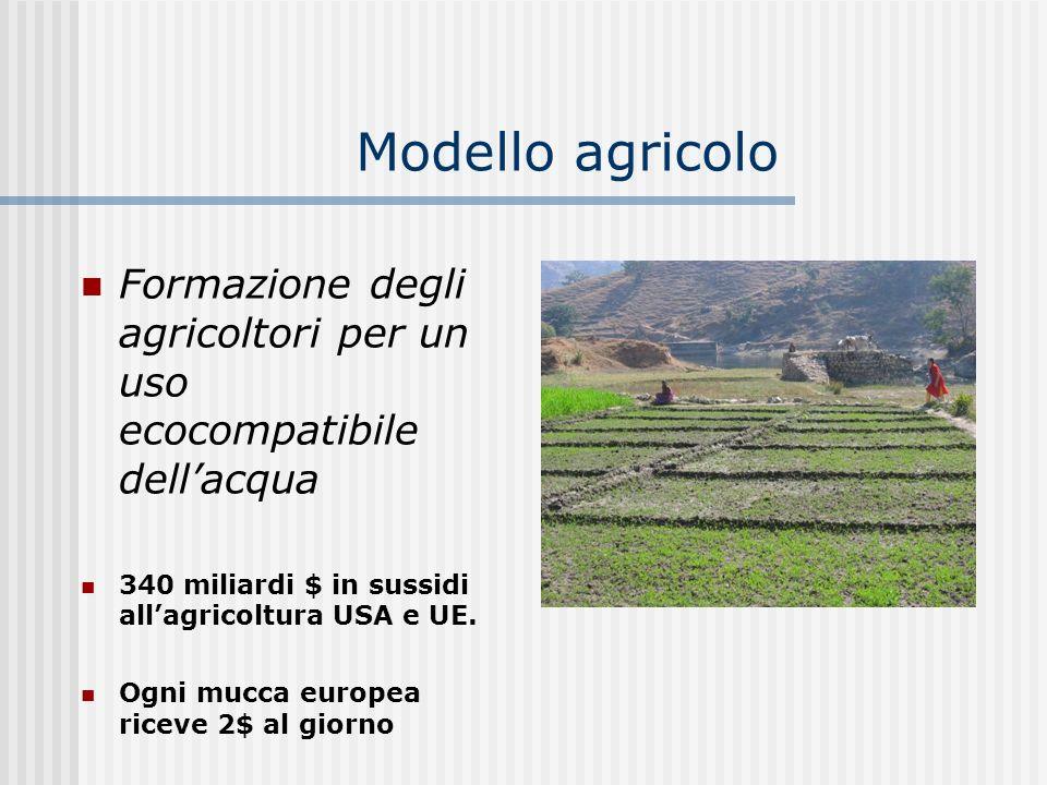 Modello agricolo Formazione degli agricoltori per un uso ecocompatibile dell'acqua. 340 miliardi $ in sussidi all'agricoltura USA e UE.