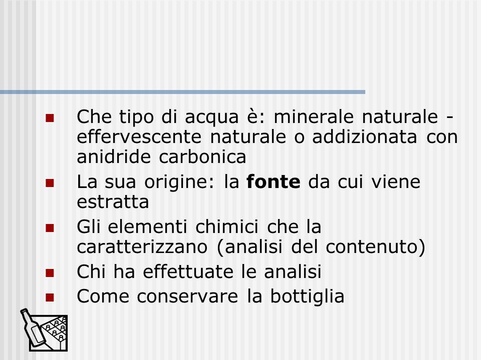 Che tipo di acqua è: minerale naturale - effervescente naturale o addizionata con anidride carbonica