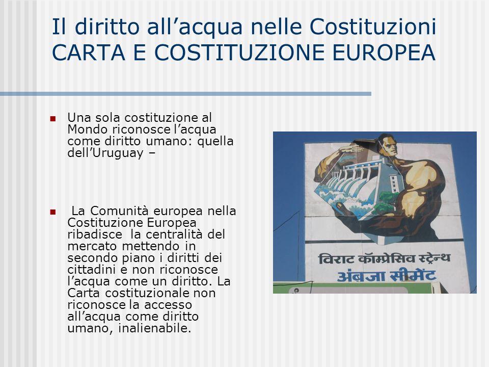 Il diritto all'acqua nelle Costituzioni CARTA E COSTITUZIONE EUROPEA