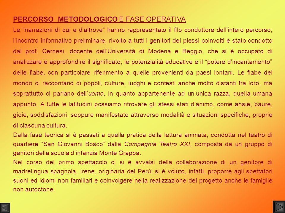 PERCORSO METODOLOGICO E FASE OPERATIVA