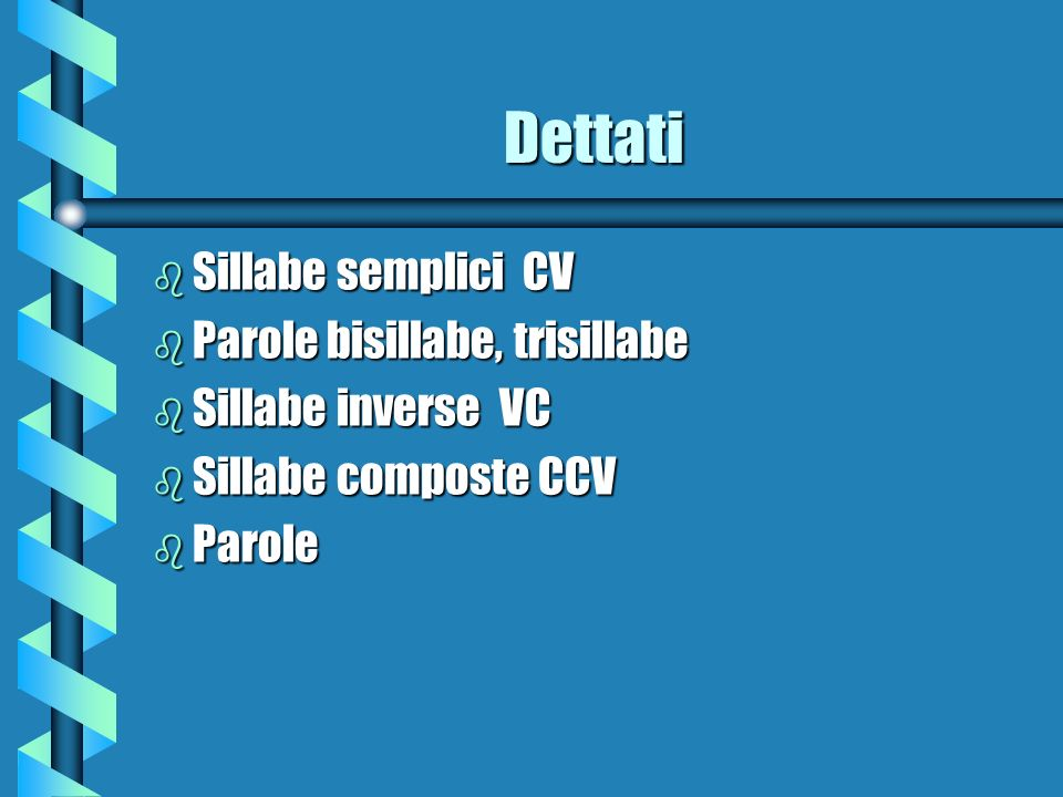 Dettati Sillabe semplici CV Parole bisillabe, trisillabe