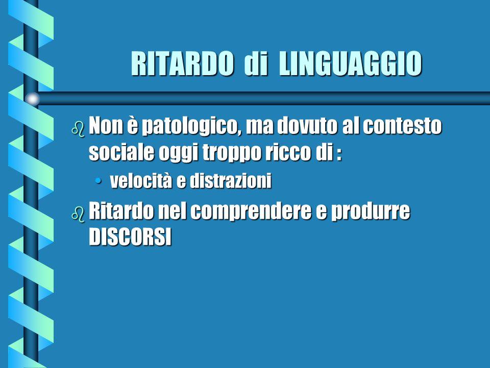 RITARDO di LINGUAGGIO Non è patologico, ma dovuto al contesto sociale oggi troppo ricco di : velocità e distrazioni.