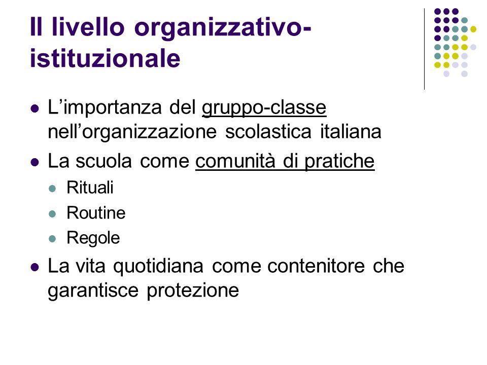 Il livello organizzativo-istituzionale