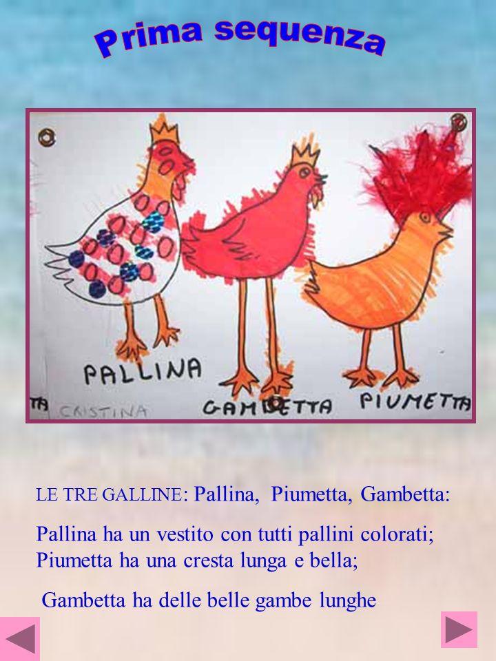 Prima sequenza LE TRE GALLINE: Pallina, Piumetta, Gambetta: Pallina ha un vestito con tutti pallini colorati; Piumetta ha una cresta lunga e bella;