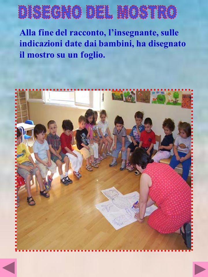 DISEGNO DEL MOSTRO Alla fine del racconto, l'insegnante, sulle indicazioni date dai bambini, ha disegnato il mostro su un foglio.