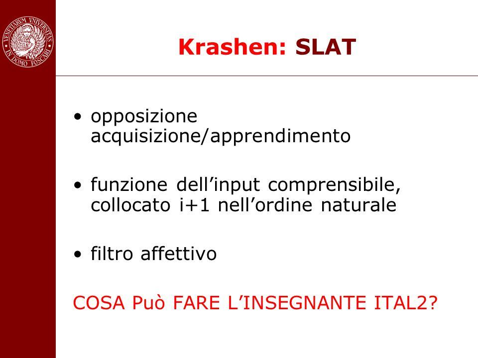 Krashen: SLAT opposizione acquisizione/apprendimento