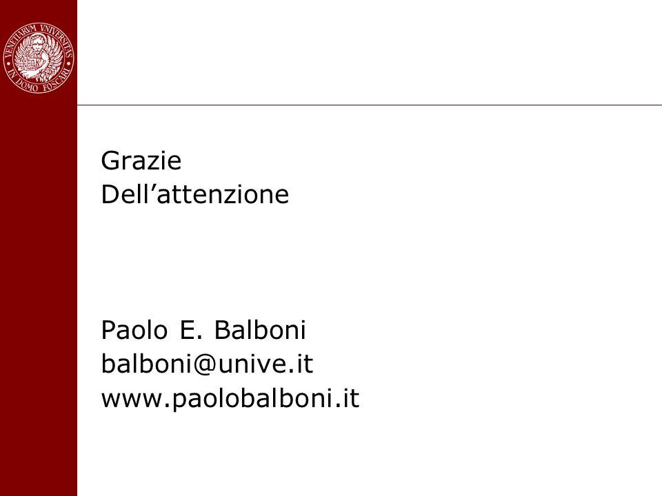 Grazie Dell'attenzione Paolo E. Balboni balboni@unive.it www.paolobalboni.it