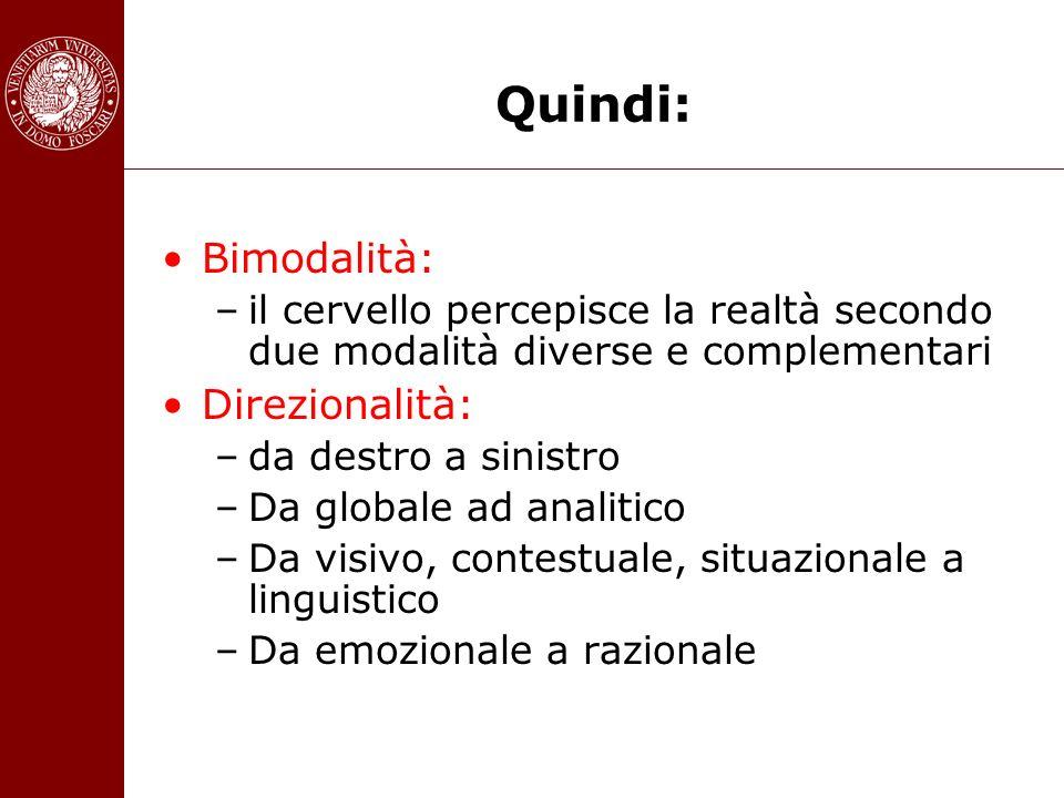 Quindi: Bimodalità: Direzionalità: