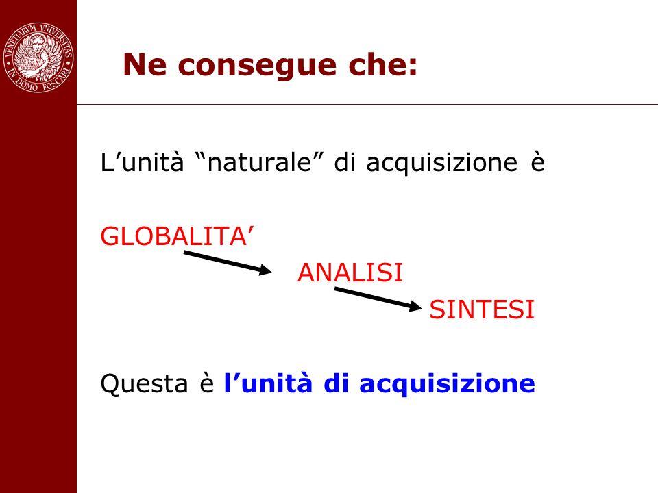 Ne consegue che: L'unità naturale di acquisizione è GLOBALITA'
