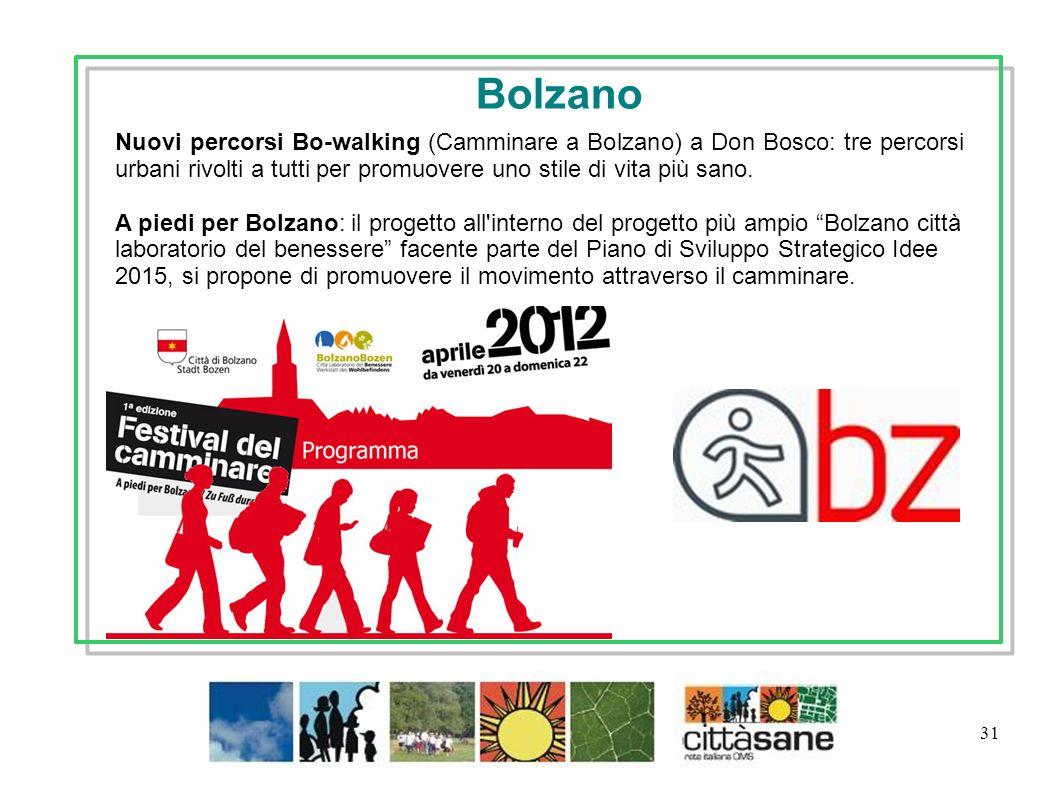 Bolzano Nuovi percorsi Bo-walking (Camminare a Bolzano) a Don Bosco: tre percorsi urbani rivolti a tutti per promuovere uno stile di vita più sano.