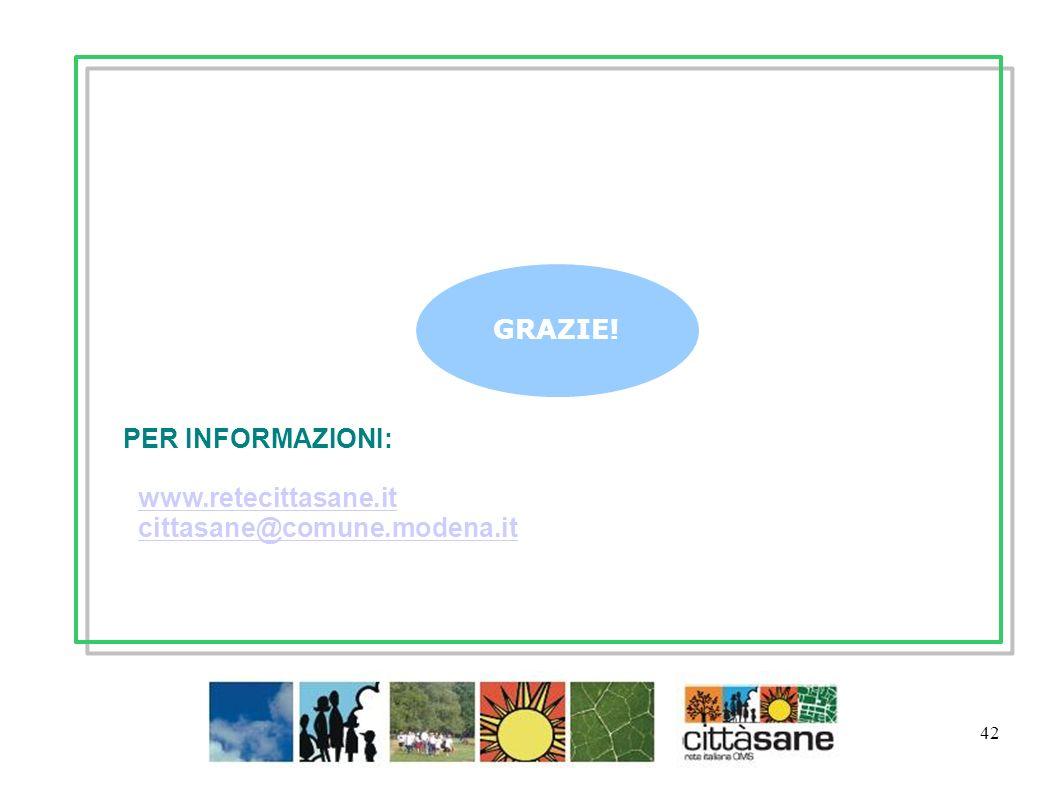 PER INFORMAZIONI: www.retecittasane.it