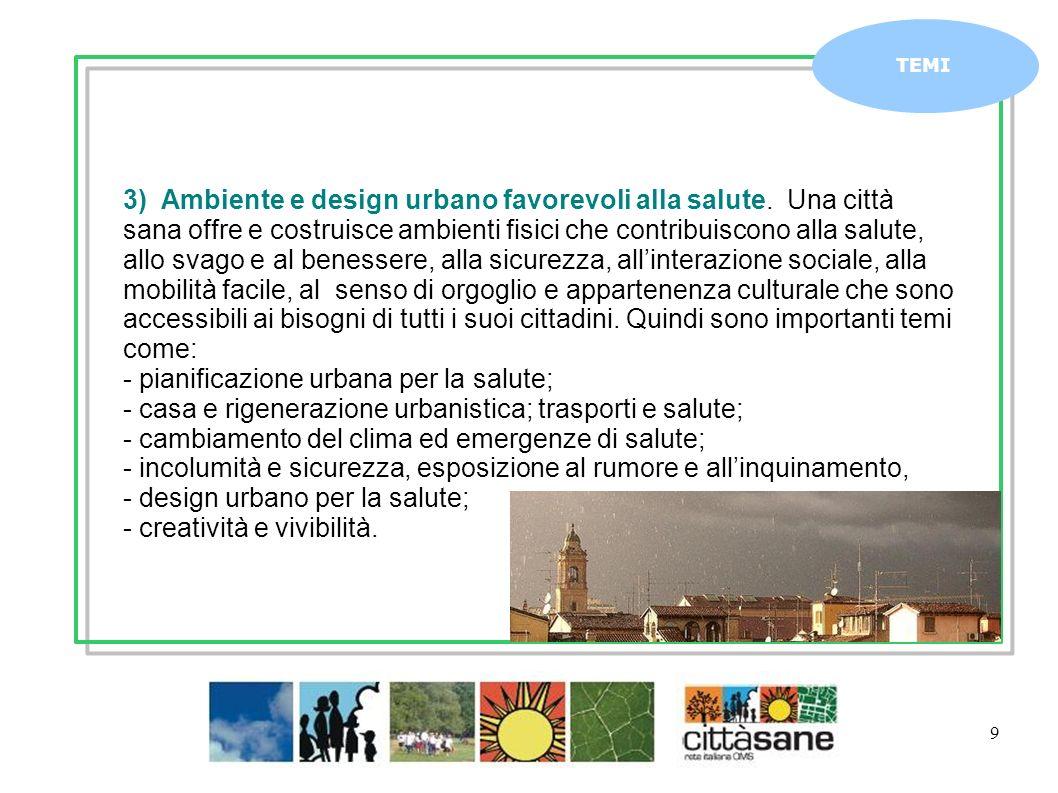- pianificazione urbana per la salute;