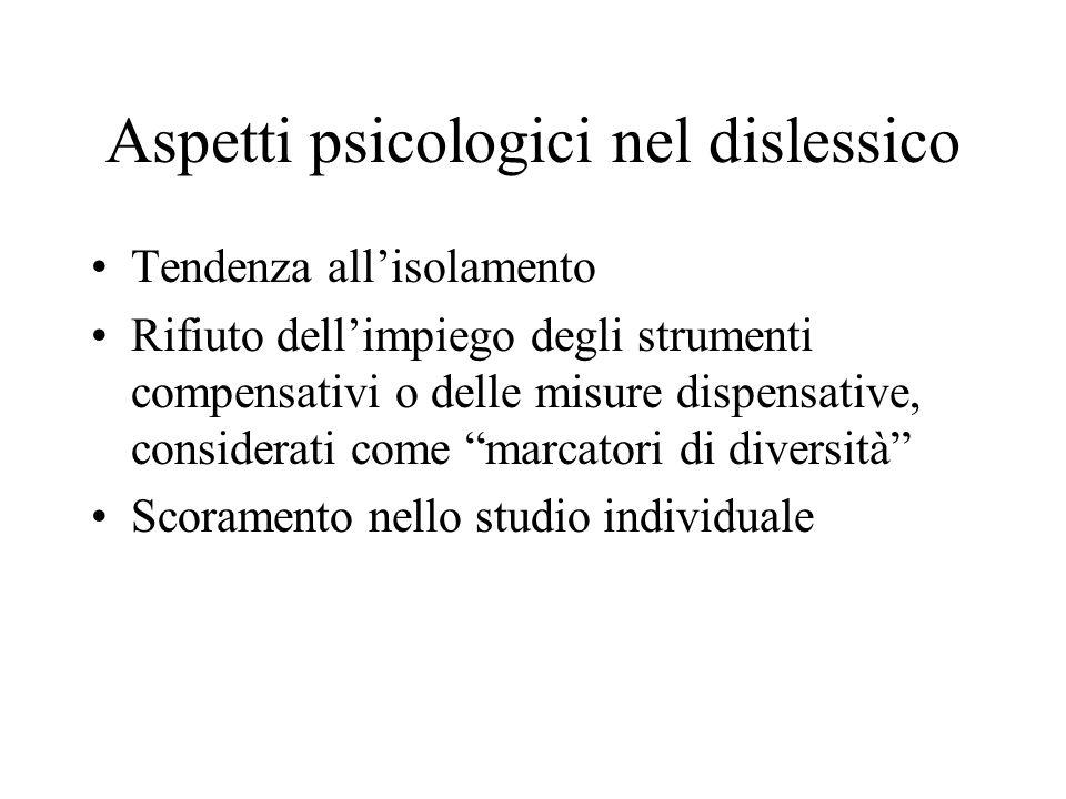 Aspetti psicologici nel dislessico