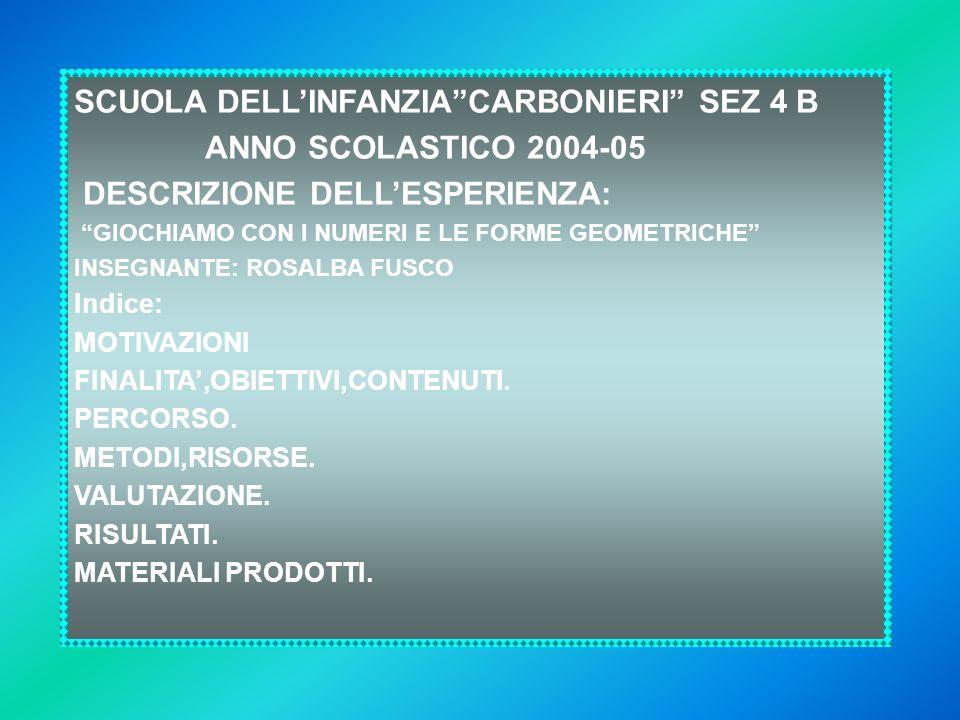 SCUOLA DELL'INFANZIA CARBONIERI SEZ 4 B ANNO SCOLASTICO 2004-05