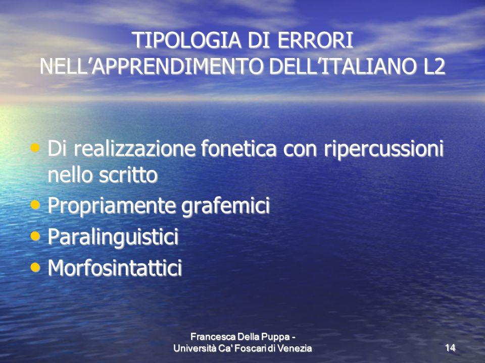 TIPOLOGIA DI ERRORI NELL'APPRENDIMENTO DELL'ITALIANO L2