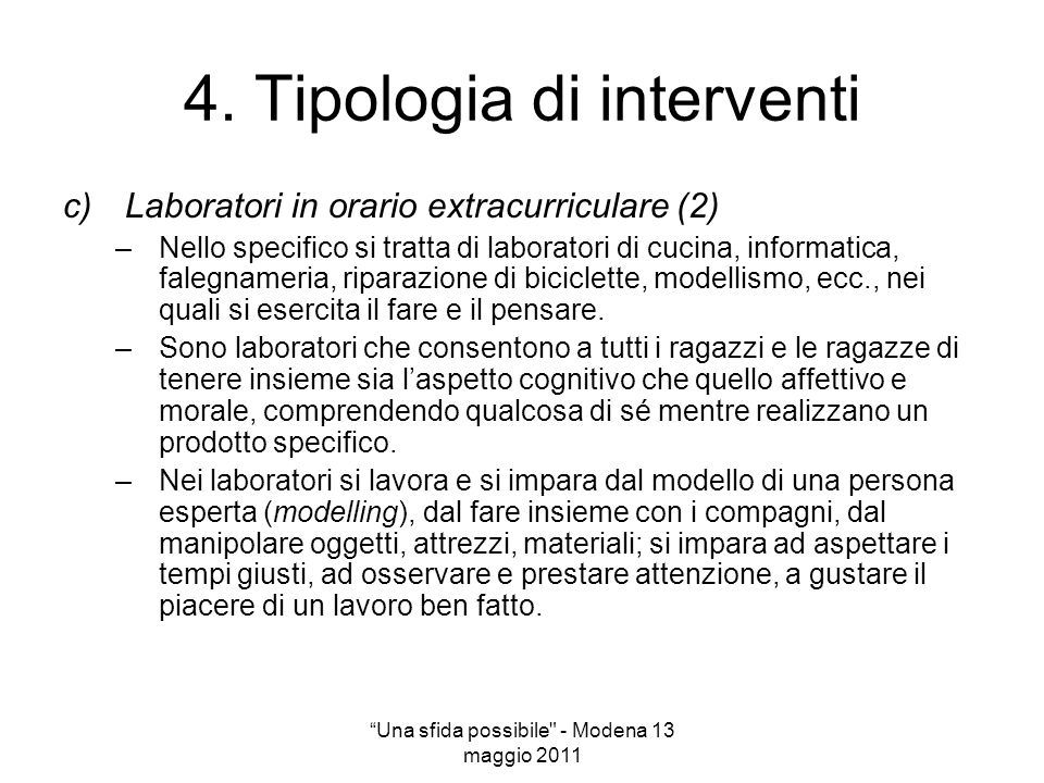4. Tipologia di interventi