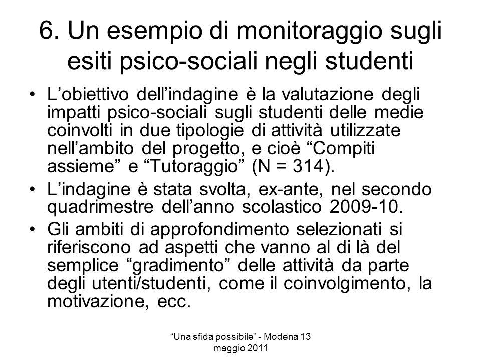 6. Un esempio di monitoraggio sugli esiti psico-sociali negli studenti