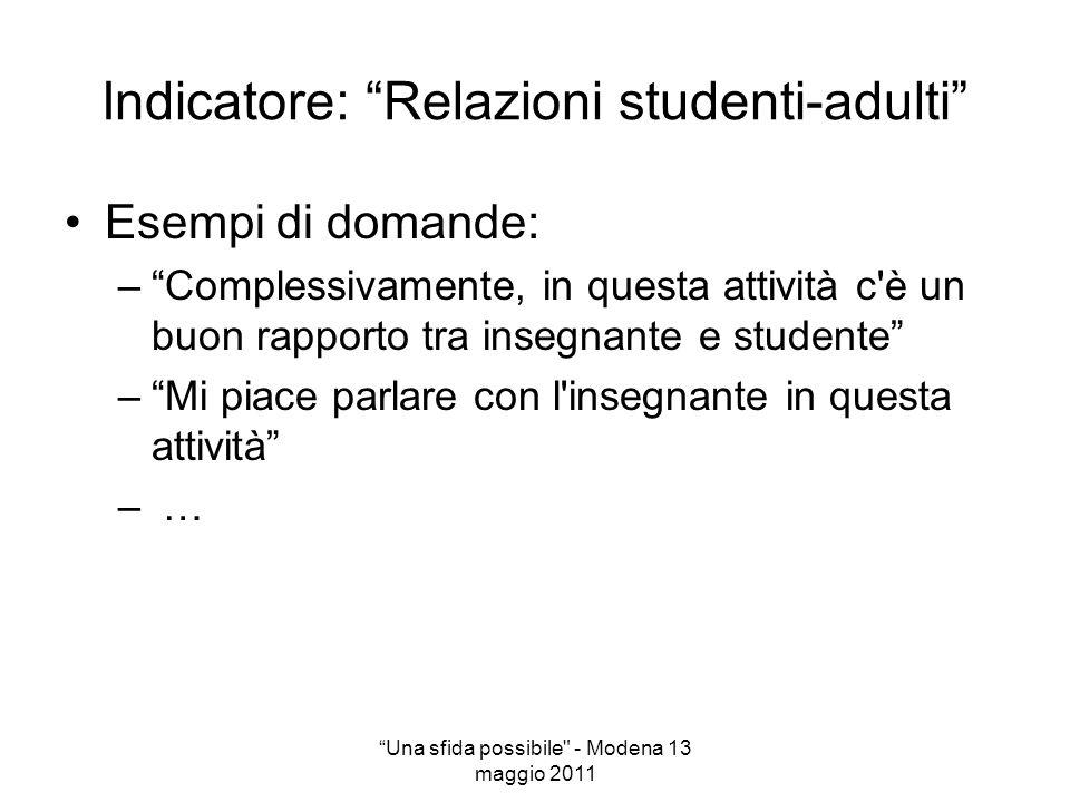 Indicatore: Relazioni studenti-adulti