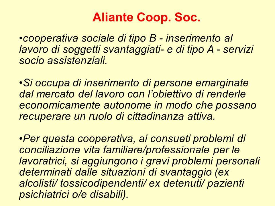 Aliante Coop. Soc. cooperativa sociale di tipo B - inserimento al lavoro di soggetti svantaggiati- e di tipo A - servizi socio assistenziali.