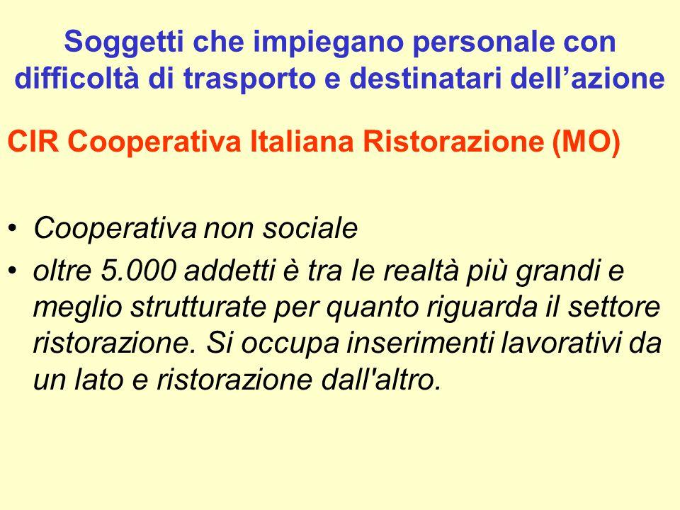 CIR Cooperativa Italiana Ristorazione (MO) Cooperativa non sociale