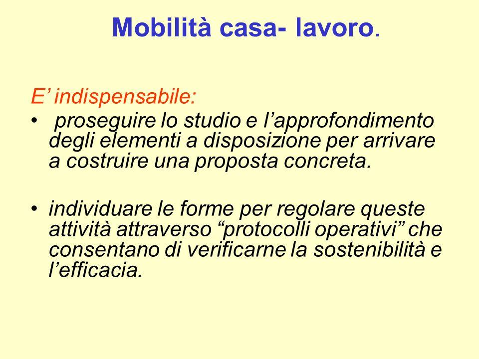 Mobilità casa- lavoro. E' indispensabile: