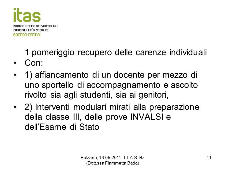 Bolzano, 13.05.2011 I.T.A.S. Bz (Dott.ssa Fiammetta Bada)