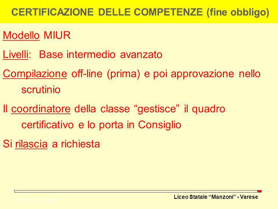 CERTIFICAZIONE DELLE COMPETENZE (fine obbligo)
