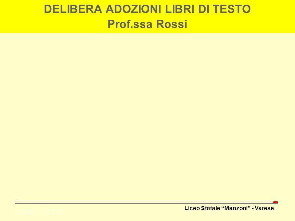 DELIBERA ADOZIONI LIBRI DI TESTO Prof.ssa Rossi