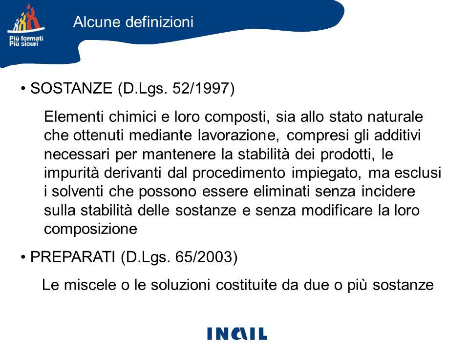 Alcune definizioni SOSTANZE (D.Lgs. 52/1997)
