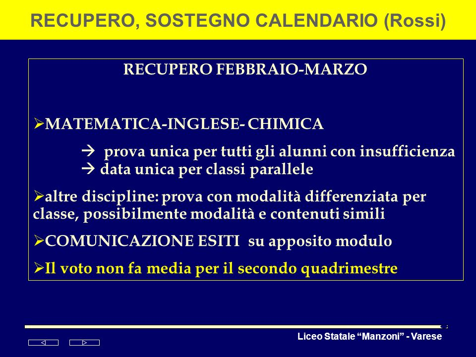 RECUPERO, SOSTEGNO CALENDARIO (Rossi) RECUPERO FEBBRAIO-MARZO