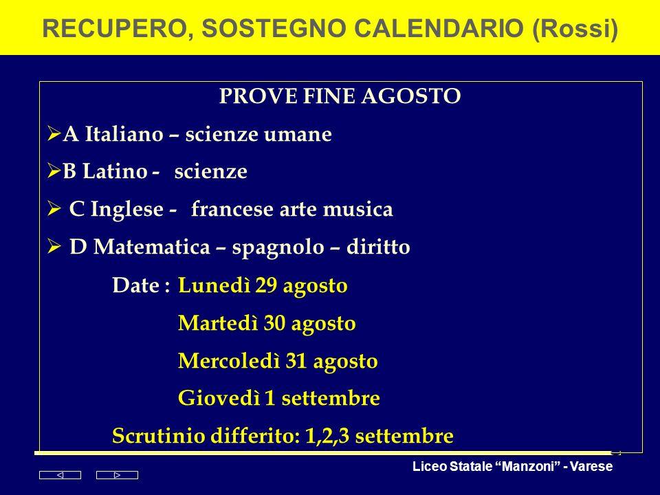RECUPERO, SOSTEGNO CALENDARIO (Rossi)