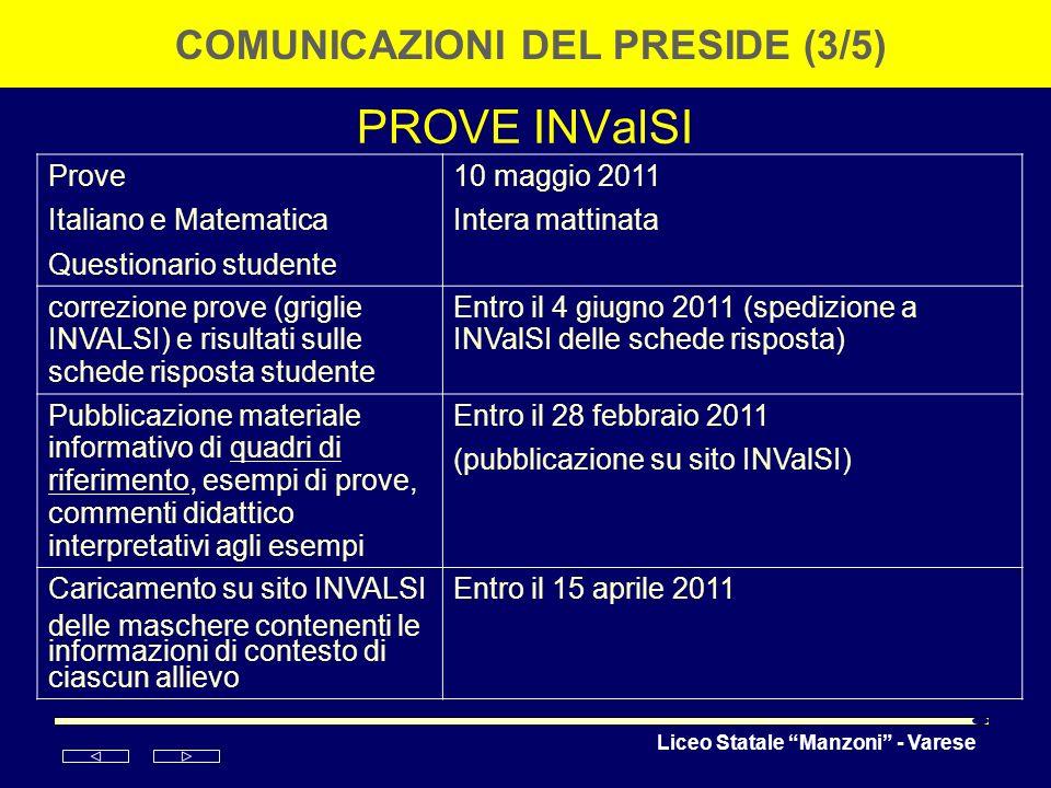 COMUNICAZIONI DEL PRESIDE (3/5)