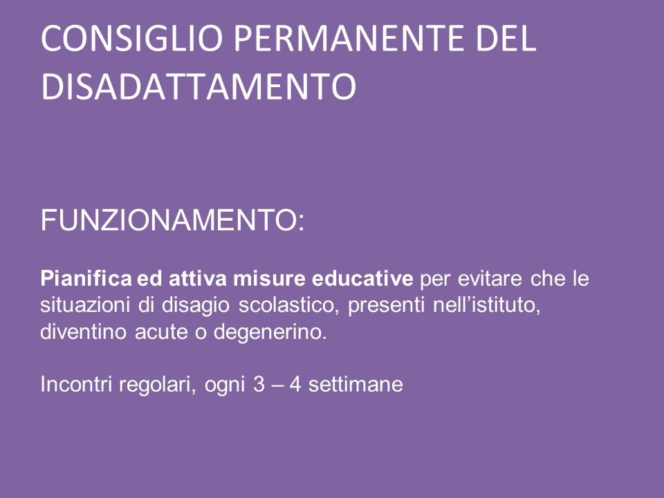 CONSIGLIO PERMANENTE DEL DISADATTAMENTO