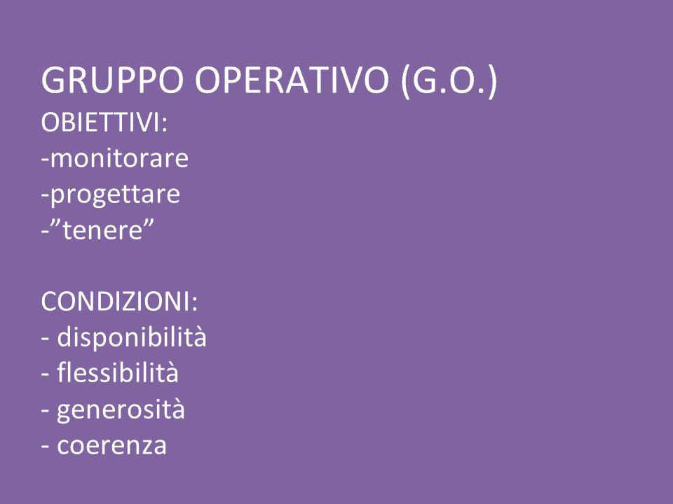 GRUPPO OPERATIVO (G.O.) OBIETTIVI: -monitorare -progettare - tenere CONDIZIONI: - disponibilità - flessibilità - generosità - coerenza