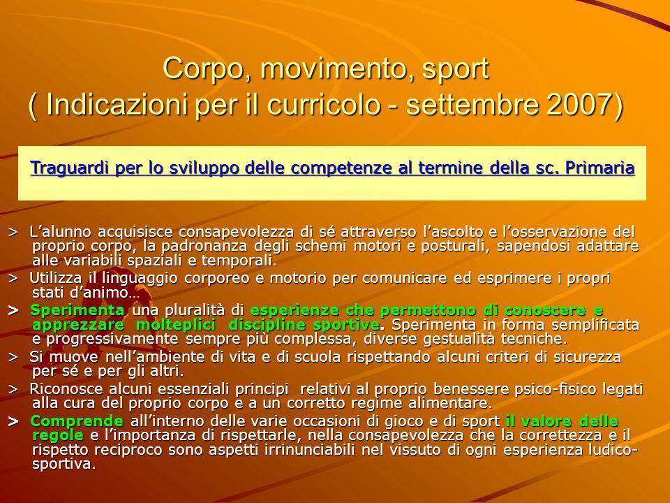 Corpo, movimento, sport ( Indicazioni per il curricolo - settembre 2007)