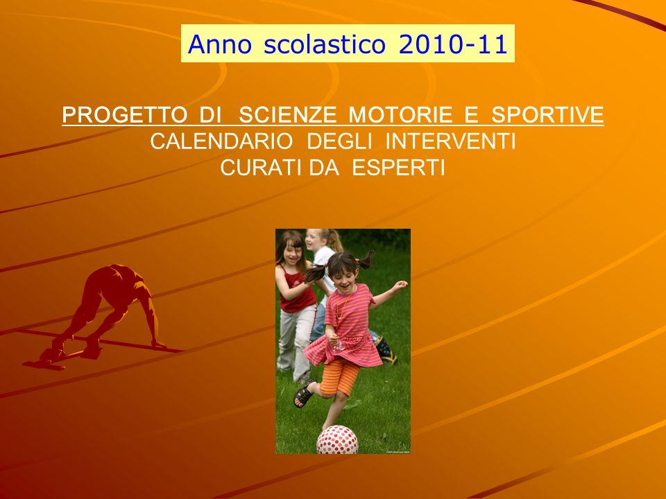 Anno scolastico 2010-11 PROGETTO DI SCIENZE MOTORIE E SPORTIVE