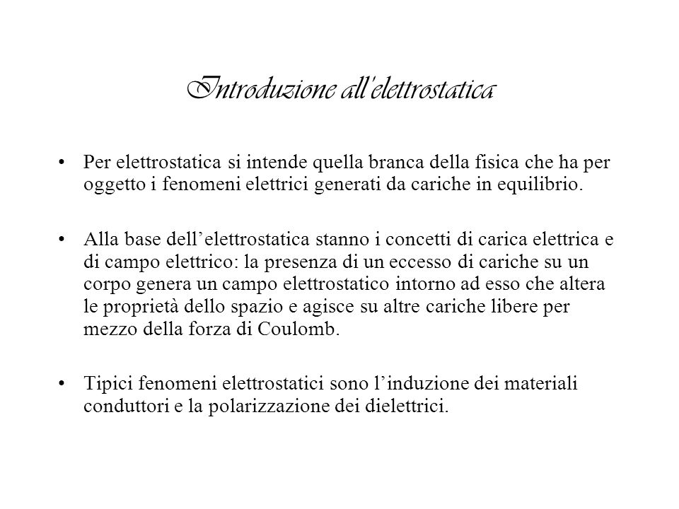 Introduzione all'elettrostatica