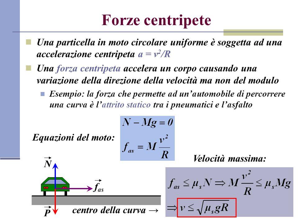 Forze centripete Una particella in moto circolare uniforme è soggetta ad una accelerazione centripeta a = v2/R.