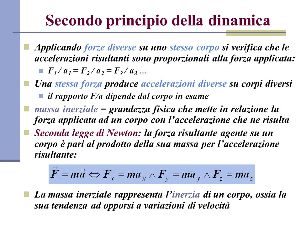 Secondo principio della dinamica