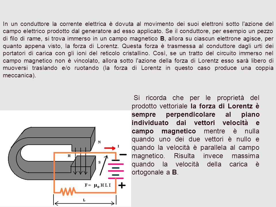 In un conduttore la corrente elettrica è dovuta al movimento dei suoi elettroni sotto l azione del campo elettrico prodotto dal generatore ad esso applicato. Se il conduttore, per esempio un pezzo di filo di rame, si trova immerso in un campo magnetico B, allora su ciascun elettrone agisce, per quanto appena visto, la forza di Lorentz. Questa forza è trasmessa al conduttore dagli urti dei portatori di carica con gli ioni del reticolo cristallino. Così, se un tratto del circuito immerso nel campo magnetico non è vincolato, allora sotto l azione della forza di Lorentz esso sarà libero di muoversi traslando e/o ruotando (la forza di Lorentz in questo caso produce una coppia meccanica).