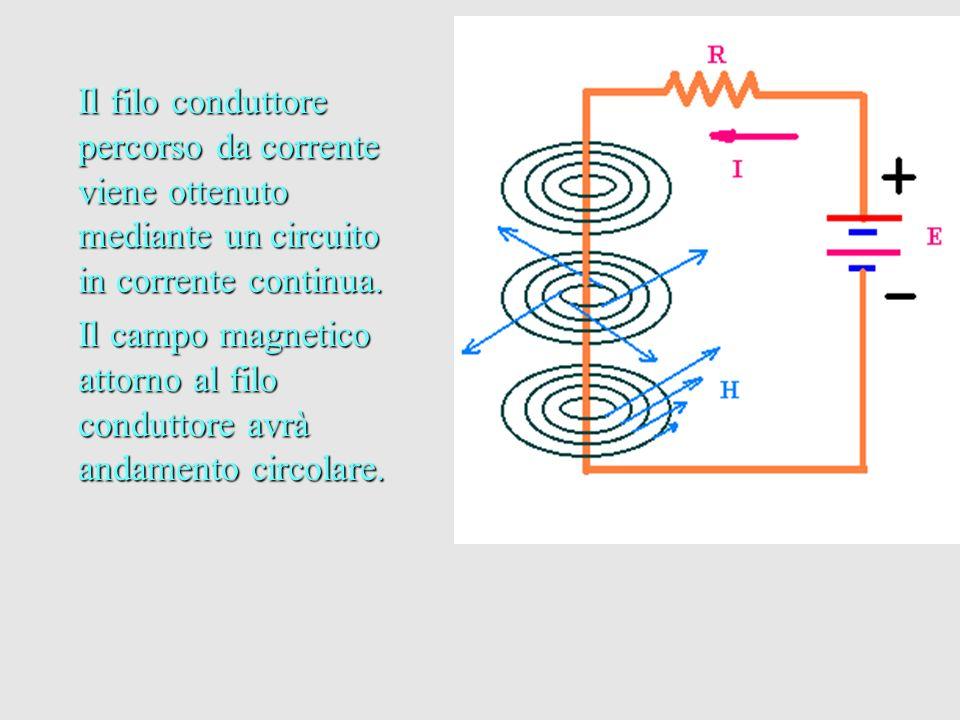 Il filo conduttore percorso da corrente viene ottenuto mediante un circuito in corrente continua.