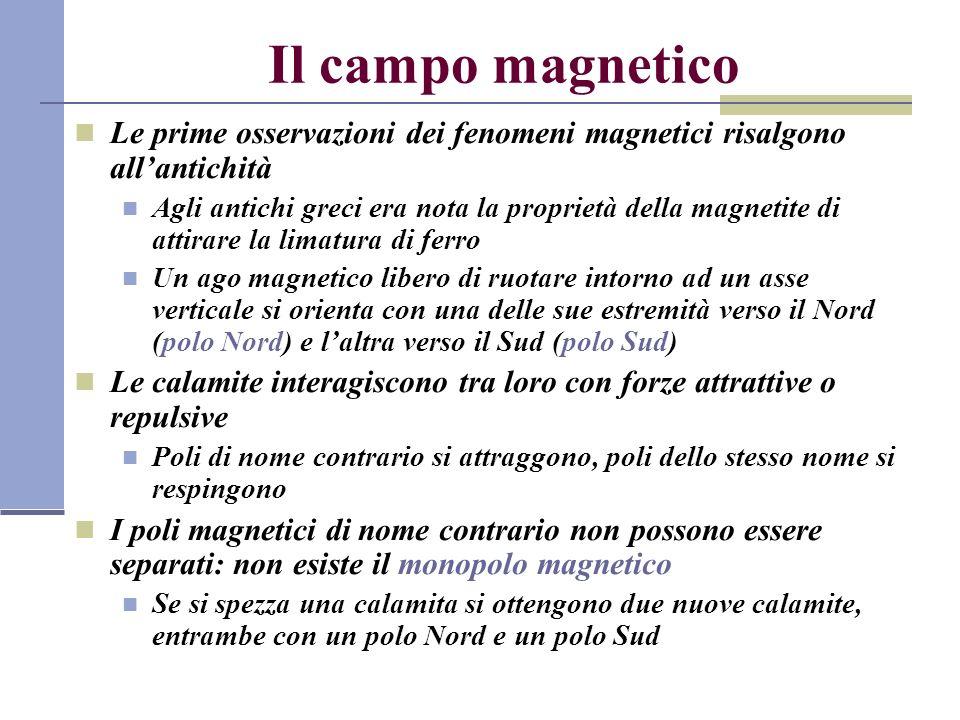 Il campo magnetico Le prime osservazioni dei fenomeni magnetici risalgono all'antichità.