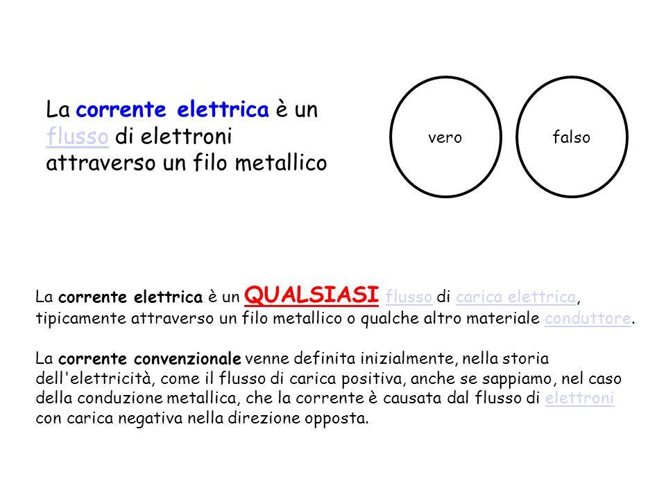 vero falso. La corrente elettrica è un flusso di elettroni attraverso un filo metallico.