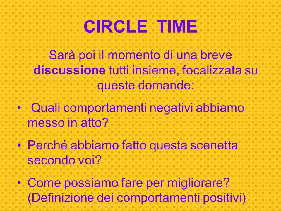 CIRCLE TIME Sarà poi il momento di una breve discussione tutti insieme, focalizzata su queste domande: